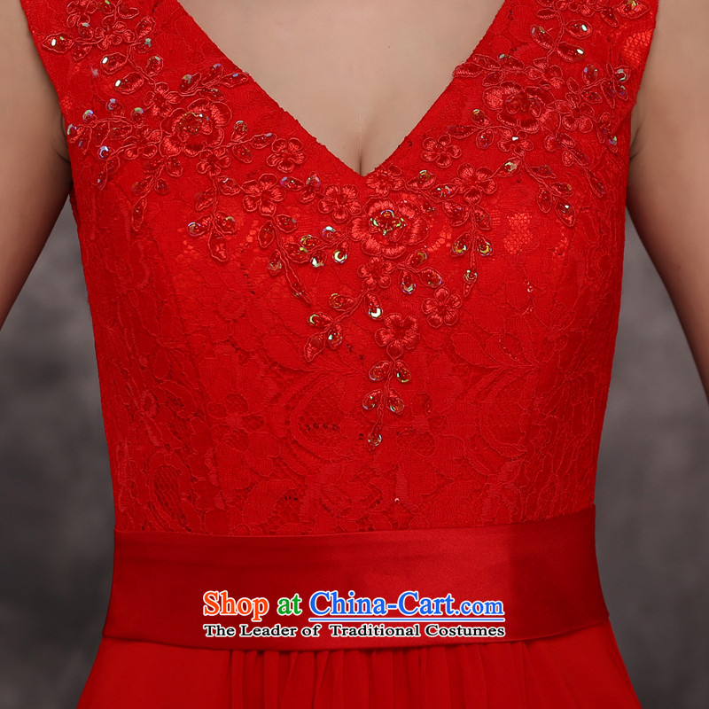 Jie mija bows Service Bridal Fashion 2015 new wedding dress shoulders V-neck in the long years of marriage banquet dinner dress winter RED M Cheng Kejie mia , , , shopping on the Internet