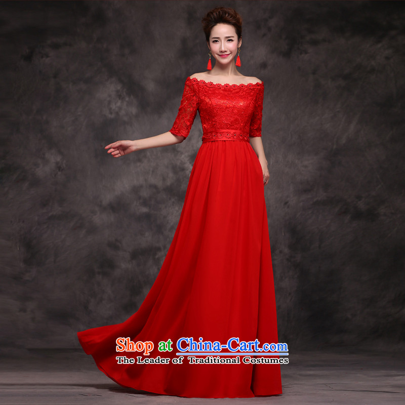 Jie mija bows Service Bridal Fashion 2015 new word wedding dress shoulder long red dress female red banquet�L