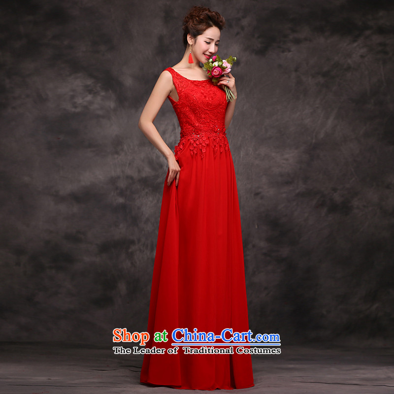 Jie Mija 2015 new red double-shoulder length of Sau San lace evening dress bride wedding dress uniform evening drink red S female skirt