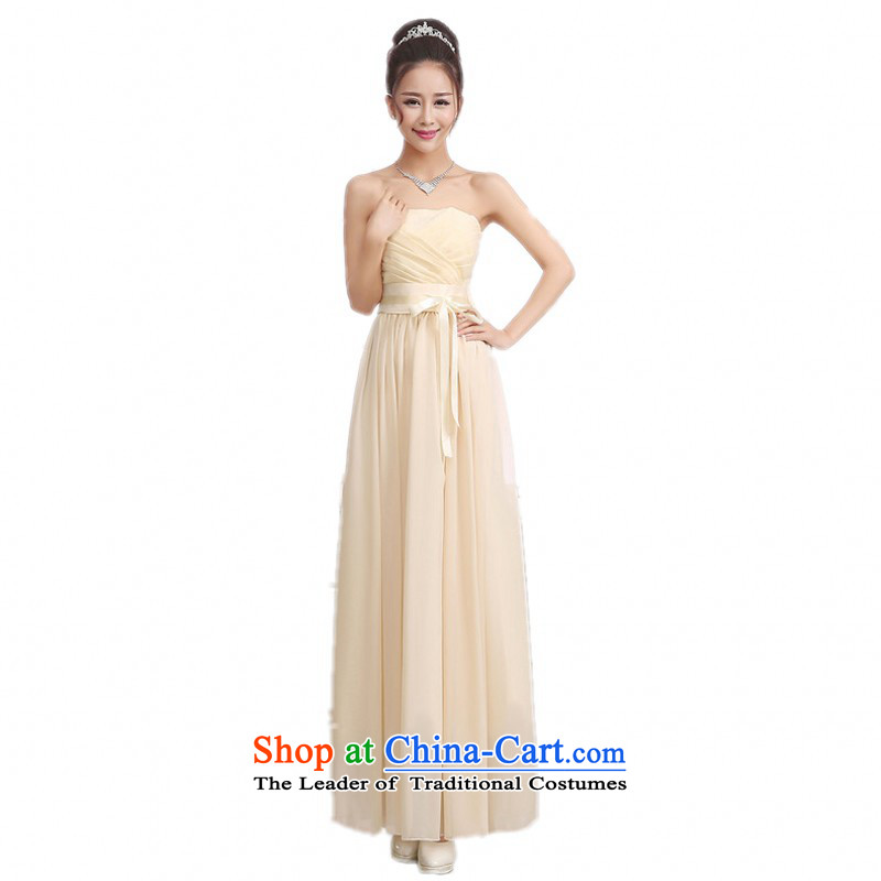 C.o.d. 2015 annual meeting of the new long skirt evening dress small wrapped his chest and stylish ribbon foutune bridesmaid sister skirt chiffon dresses Sau San champagne color long skirt are code
