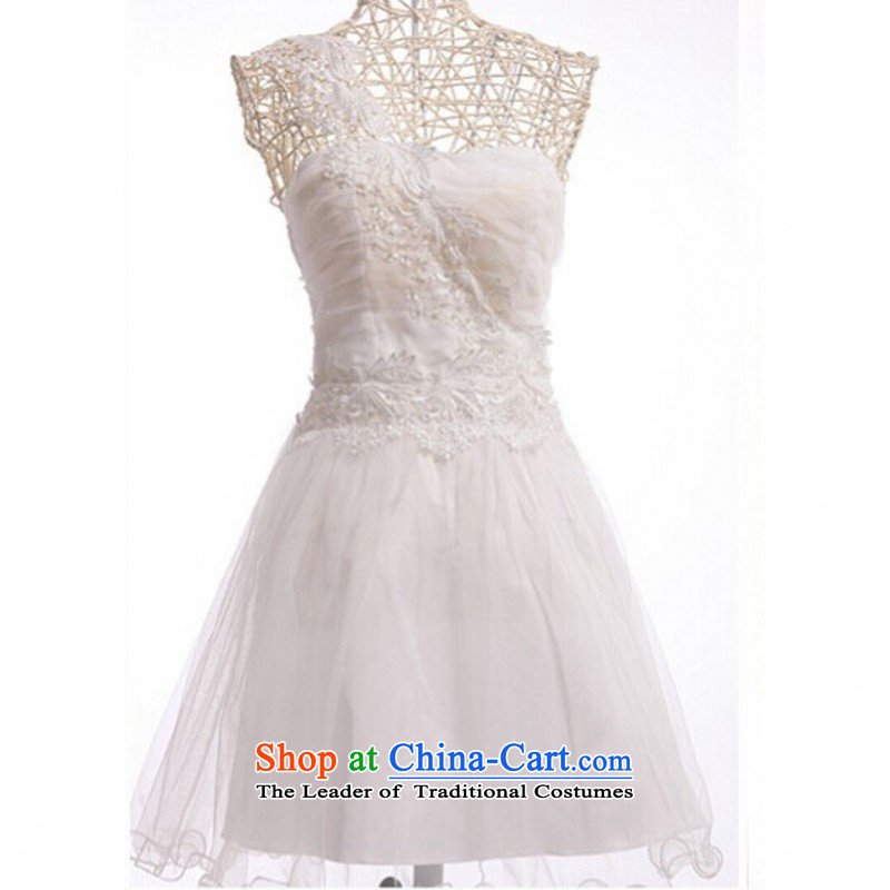 C.o.d. 2015 new lace shoulder evening dresses goddess small wedding bridesmaid short skirts, sister white dresses gauze princess skirt are white