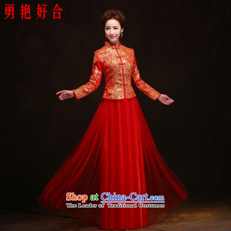 Yong-yeon and 2015 new long-sleeved Chinese wedding dress red long bows of autumn and winter clothing stylish bride wedding dresses long-sleeved gown red S