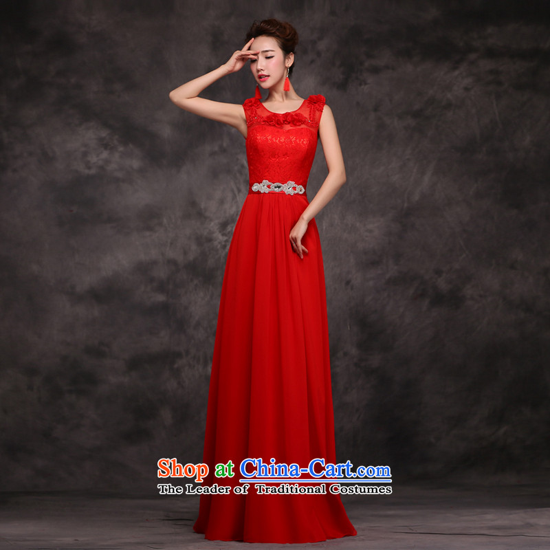 Jie Mija�2015 new bride Red chief of Sau San toasting champagne evening dresses and stylish shoulders bridesmaid wedding dress shoulders services/flowers�L