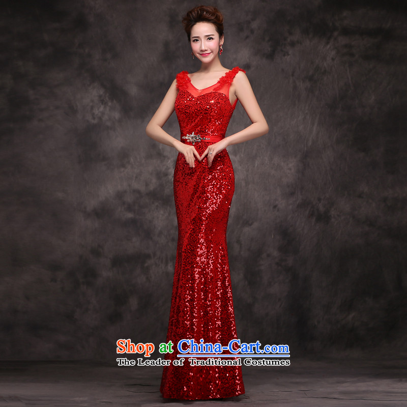 Jie mija evening dresses 2015 new long service bridal dresses bows crowsfoot shoulders on chip stylish wedding dress red S