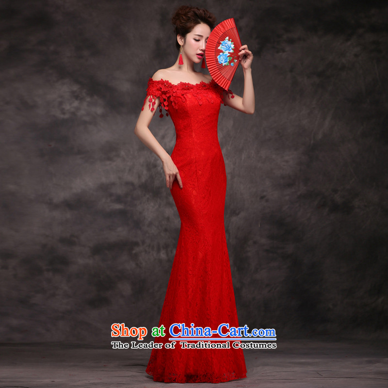Jie mija bows Service Bridal Fashion New Word 2015 shoulder marriage evening dresses crowsfoot cheongsam red Long Female Red?S