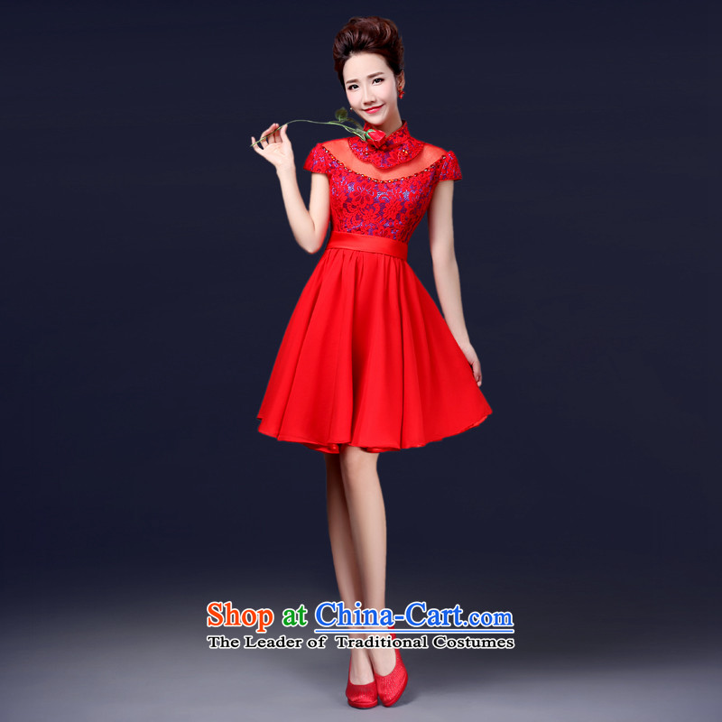 Jie mija bows services 2015 new bride stylish wedding dress marriage red retro evening dress short of long-sleeved gown, S
