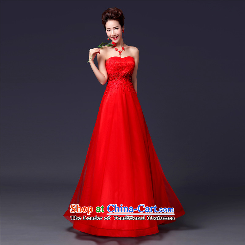 Jie Mija�2014 new stylish anointed chest lace dress brides Sau San wedding dress red tie bows serving long red�M