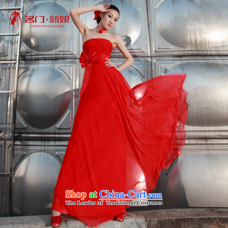 A bride her dress fell onto the ground with banquet long evening dress bridal dresses bridesmaid?413 M