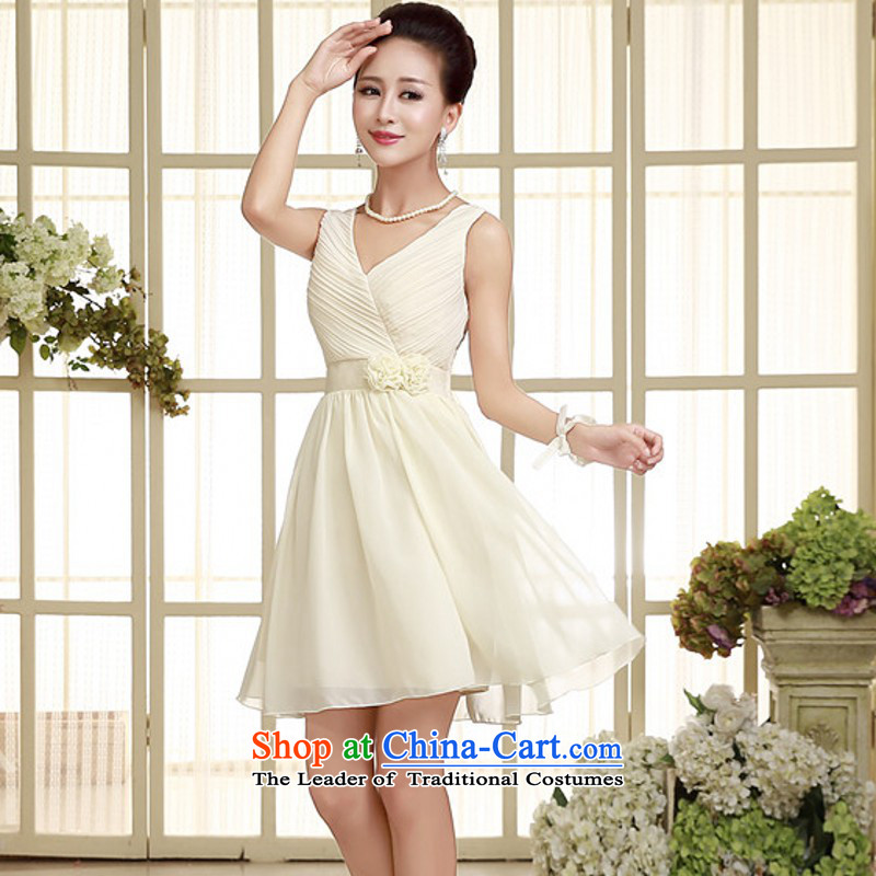 C.o.d. 2015 new sexy shoulders chiffon small dress V-NECK TOP loin wedding short skirts and sisters of bridesmaid dresses annual slips champagne color code