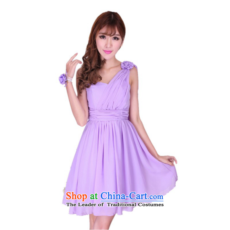 C.o.d. 2015 new gliding shoulder long skirt ultra fairies air quality gentlewoman Annual Show small wedding dresses bridesmaid sister Lin Yi skirts short, purple are code