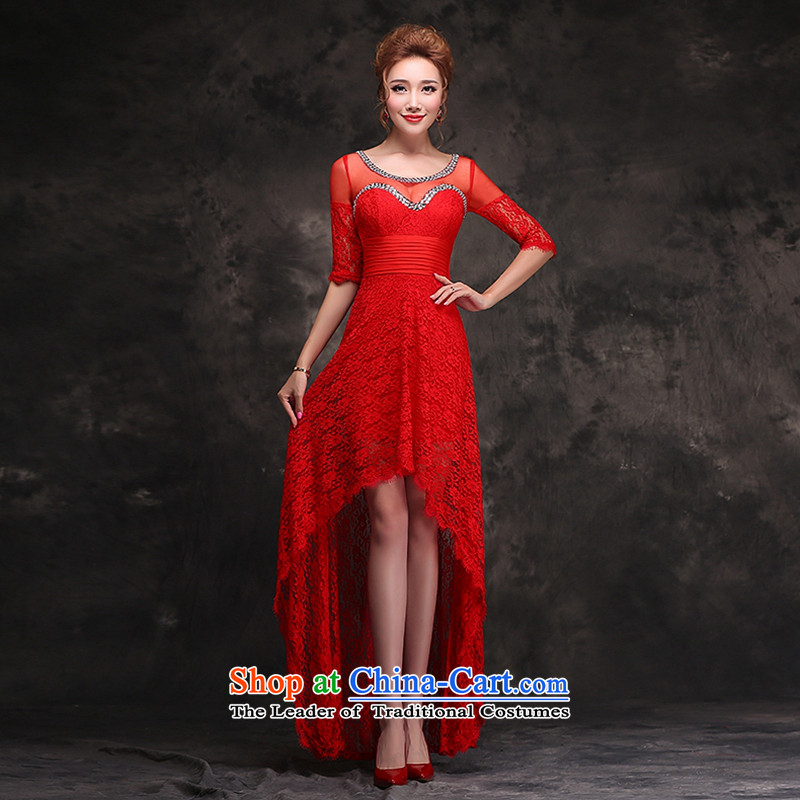 Hei Kaki 2015 new winter) bows to dress short long after the pre-modern red bridesmaid skirt long gown F104 Red M )