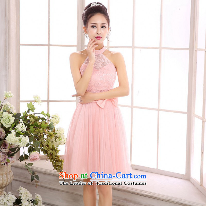 C.o.d. Package Mail New lace gentle atmosphere gentlewoman long skirt round-neck collar hanging also back and sexy small dress wedding sister bridesmaid short skirts of the annual meetings of the short skirt pink are code