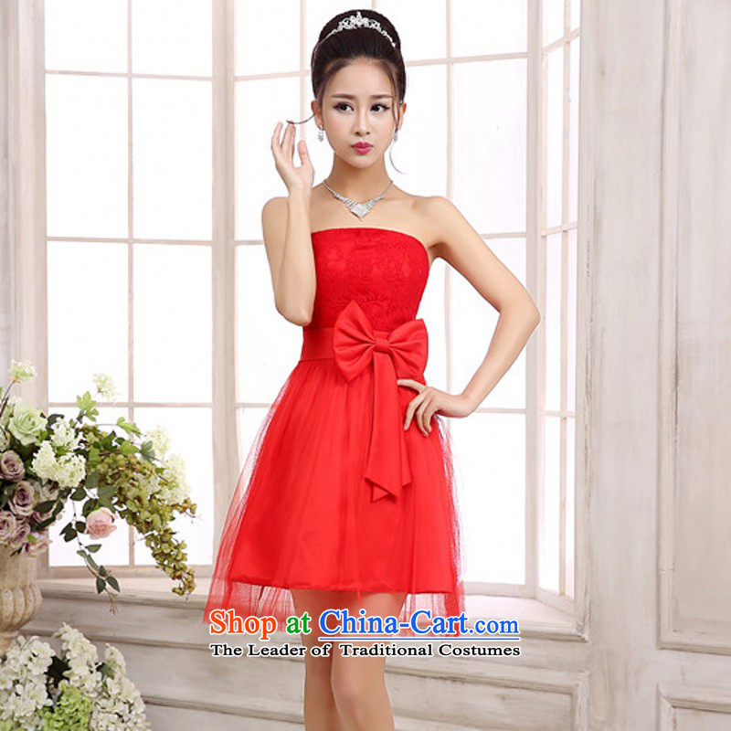 C.o.d. Package Mail New Annual Small dress bon bon gauze princess skirt Bow Ties With chest lace red wedding bridesmaid sister dress strap dresses are Code Red