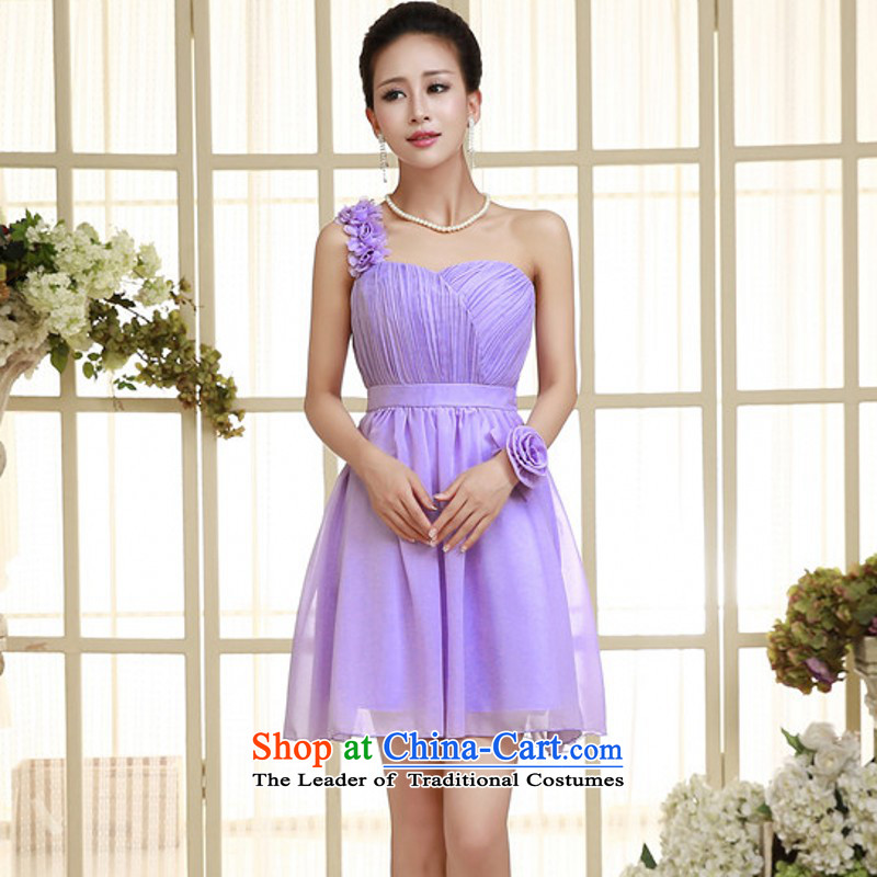 C.o.d. Package Mail new ultra-pure sin chiffon short of small shoulder and chest dress small dress bridesmaid sister in any annual dresses solid color dress code is purple skirt