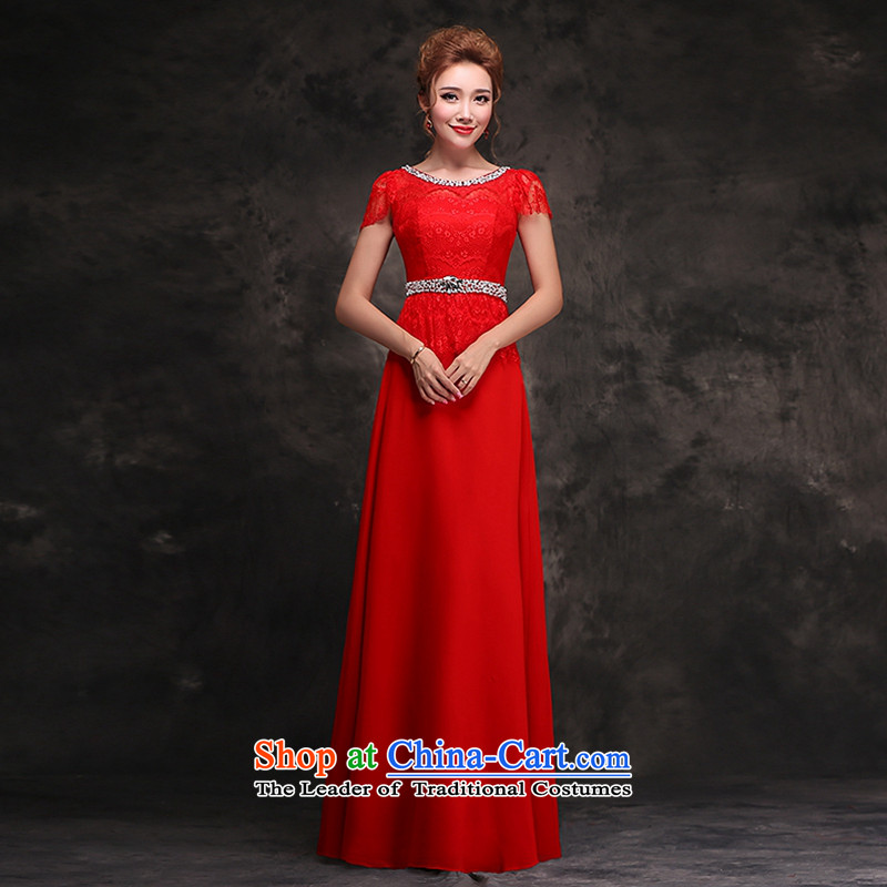 Hei Kaki 2015 autumn and winter new long gown bride bows services wedding dresses dresses Stylish retro?F105?Red Red?M
