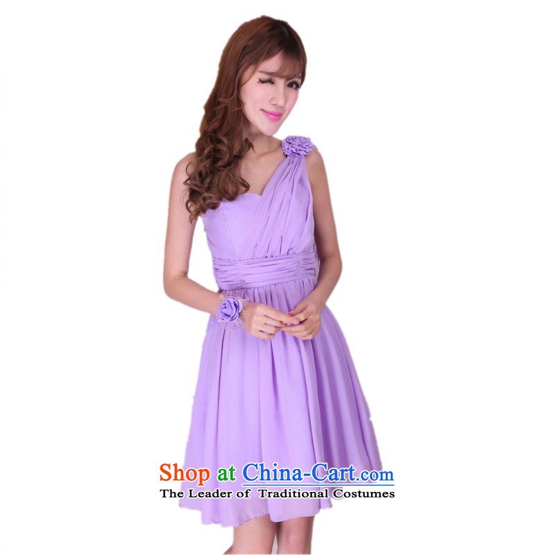 C.o.d. Package Mail New goddesses gliding chiffon long skirt shoulder and sexy dress annual gathering wedding bridesmaid sister short skirt, drag to dress short skirts are purple code