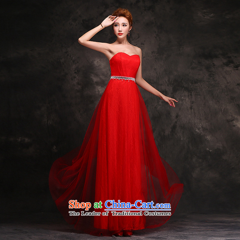 Hei Kaki 2015 New Long Chest dress bride toasting champagne anointed service wedding dresses dresses red Stylish retro autumn and winter F109 RED聽XL