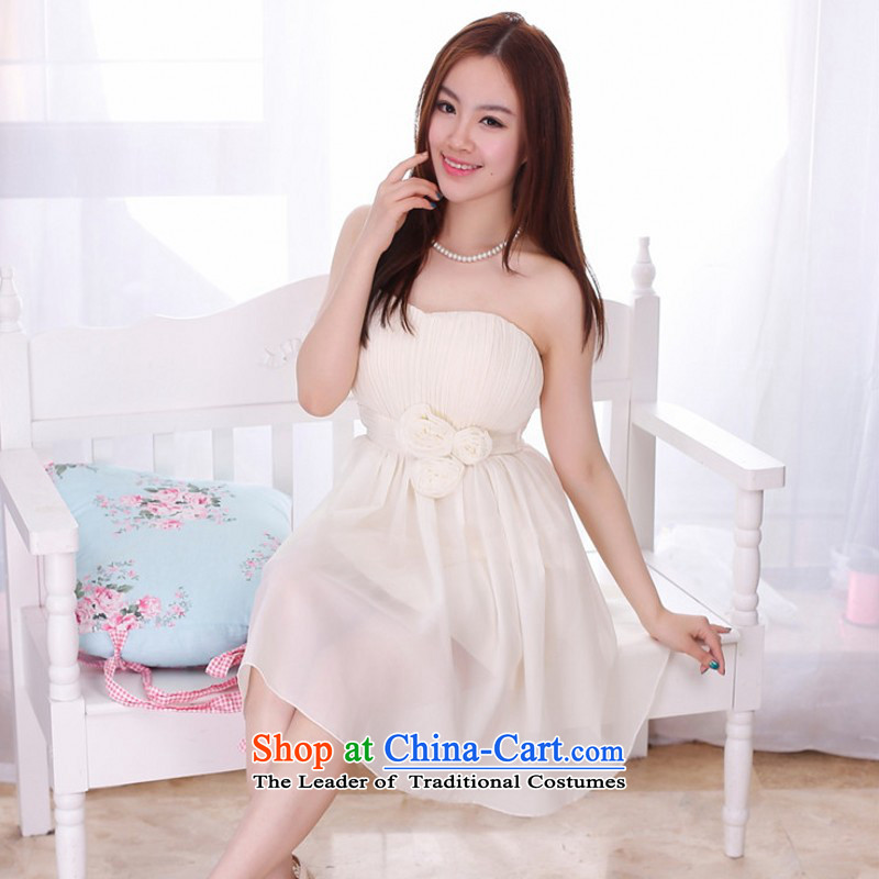 C.o.d. Package Mail New cute girl like Susy Nagle Mrs Mary Magdalene chest small dress chiffon short, wedding dresses bridesmaid sister skirt high annual waist performances are champagne color code skirt