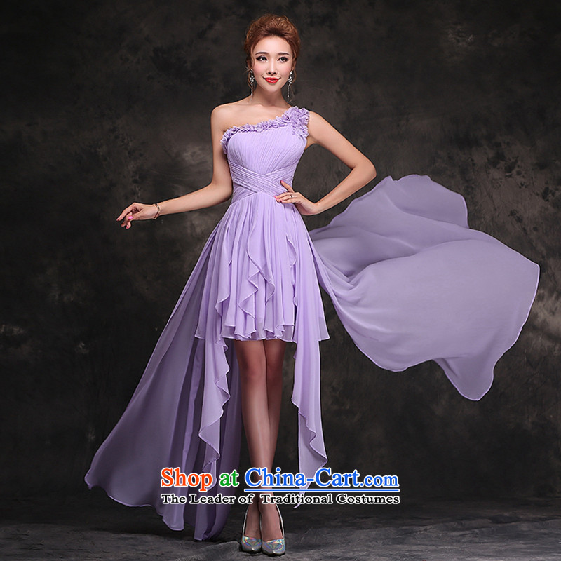 Hei Kaki 2015 autumn and winter new stylish Bridal Services dress bows long bridesmaid red bows SERVICES? F101?Purple Lines incense?L