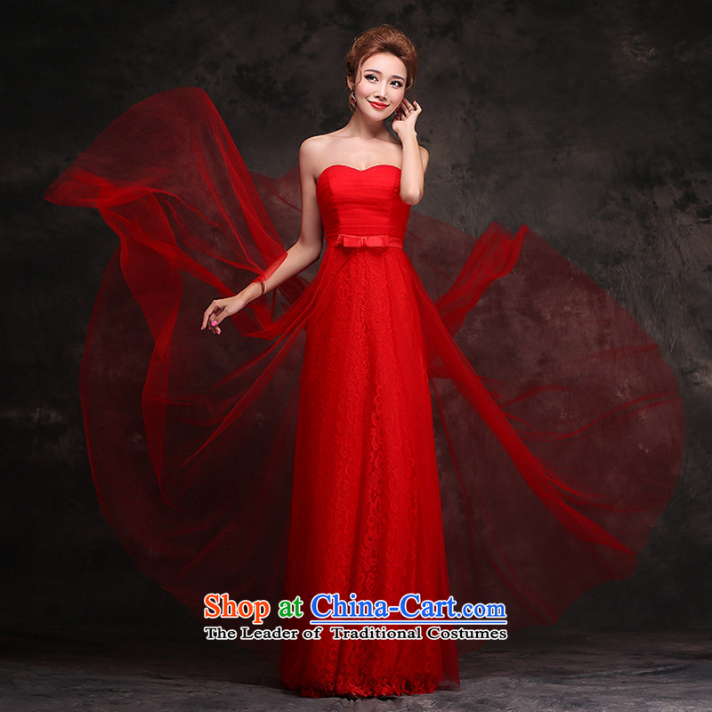 Hei Kaki wedding dresses new 2015 bridesmaid dress bows to the autumn and winter marriages anointed chest dress red red聽XL