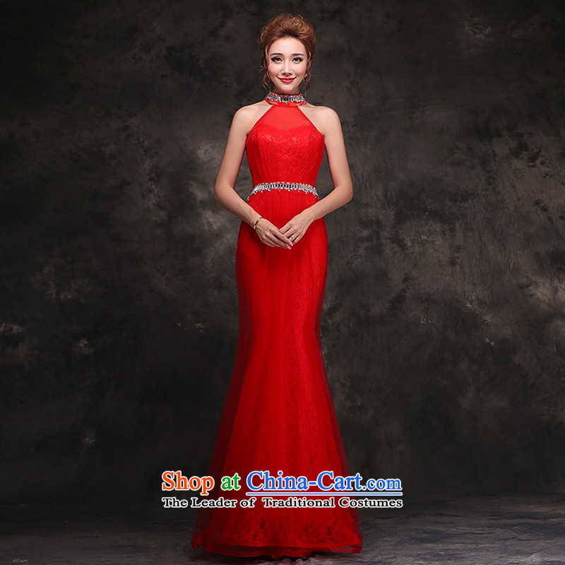 Hei Kaki 2015 new long gown bride bows services wedding dresses red Stylish retro autumn and winter hang also dresses F106 Red?XL
