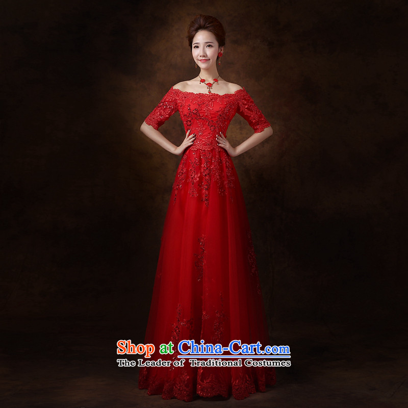 Jie mija bows Service Bridal Fashion 2015 new word wedding dress shoulder long red dress female M Banquet