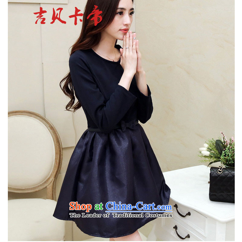 Gibez Card Dili 9693# autumn and winter Korean blue video thin, forming the Sau San dresses dress skirt picture color?S