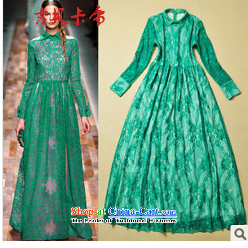 Gibez Card Dili women in Europe and America show, reverse collar long-sleeved lace long skirt elegant dresses banquet dress skirt had reached 9,251 Green?S