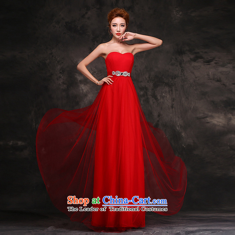 Hei Kaki 2015 new bride wedding dress bows to the autumn and winter bridesmaid chief stylish red dress F112 RED聽XL