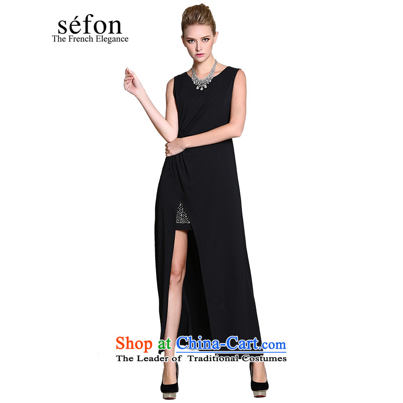 2015 Maple statistics sefon spring new sense of stability of the forklift truck long skirt evening dress female 9225LD110 dark /BK3 M/160