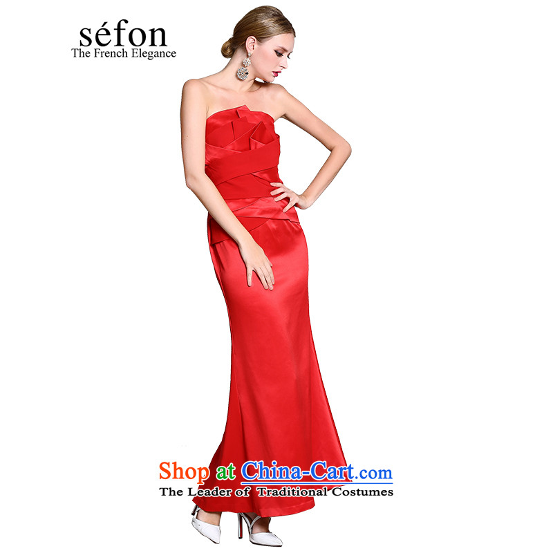 Statistics 2015 Spring sefon maple anointed chest crowsfoot long skirt bride evening dresses female red 9225LD119 /RE2 S/155 red