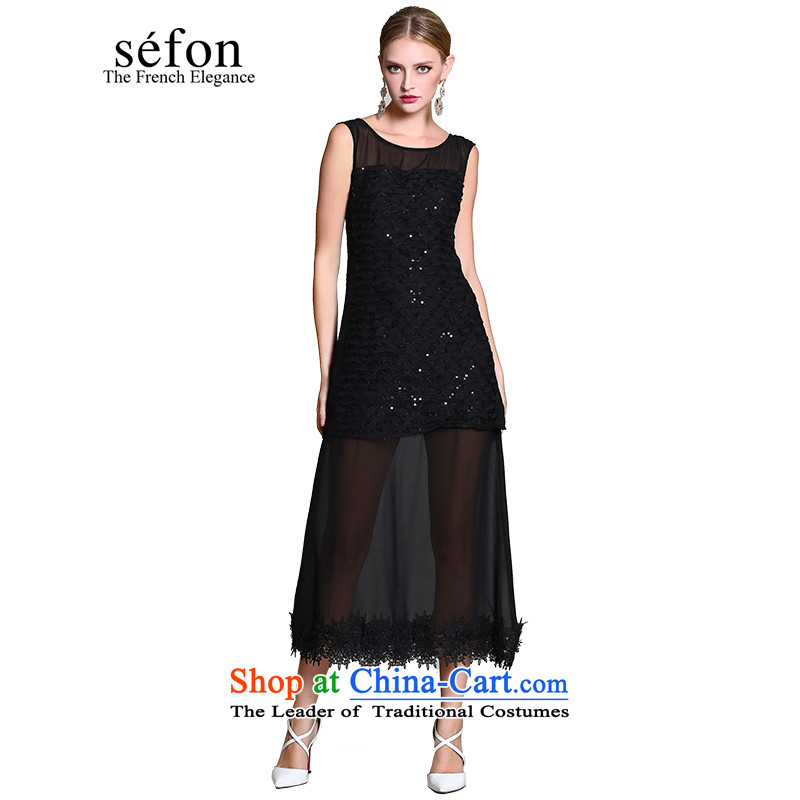2015 Maple statistics sefon spring new products on-chip sleeveless long skirt evening dress female 9225LD111 dark /BK3 XL/170