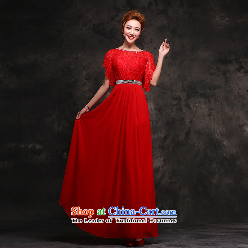Hei Kaki 2015 new long gown bride bows services wedding dresses red lace cuff autumn and winter F111 RED?S