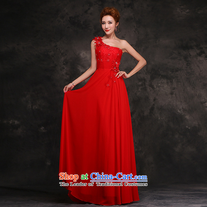 Hei Kaki 2015 new stylish bride shoulder bows serving long bridesmaid at red dress?F11?Red?XXL