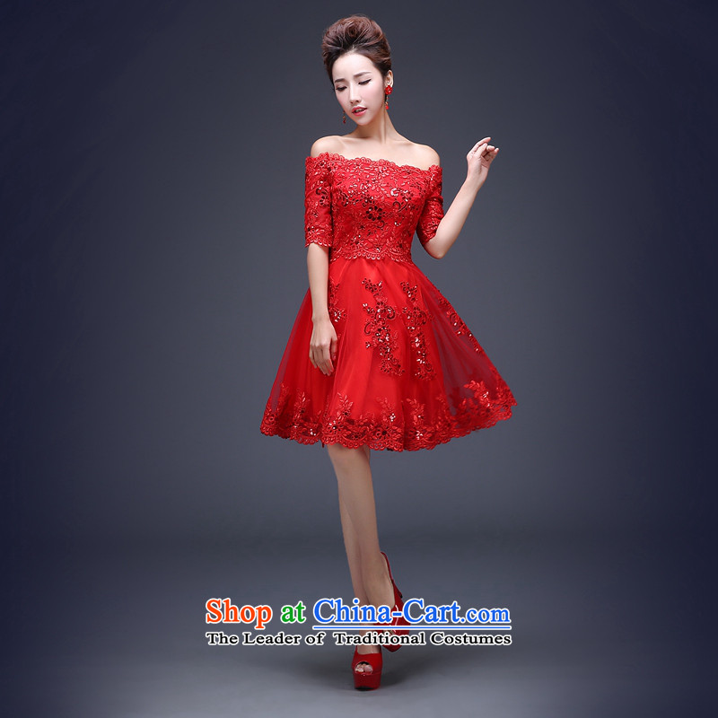 Jie mija bride wedding dresses 2015 new small dress bows services in the breast of his waist red short) bridesmaid dress suit skirt red?XL