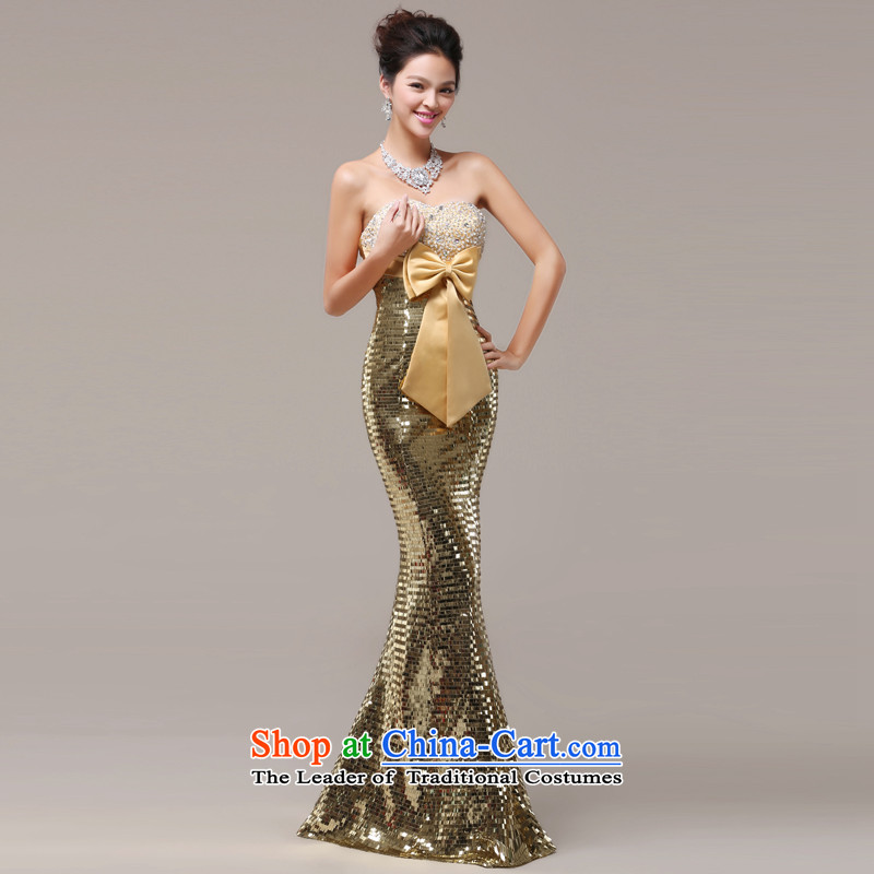 Jie mija evening dresses 2014 new long service bridal dresses bows and chest on-chip crowsfoot open stylish evening dresses gold?M