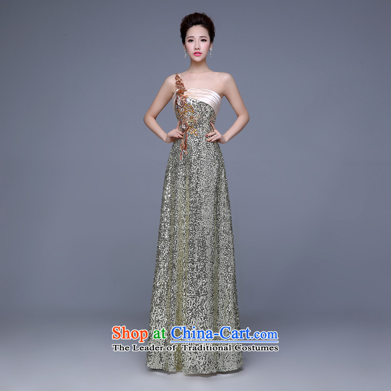 Hamm Golden Jie evening dresses New Service Bridal Fashion toasting champagne 2015 marriage ceremony shoulder bridesmaid service long autumn and winter champagne color?XL