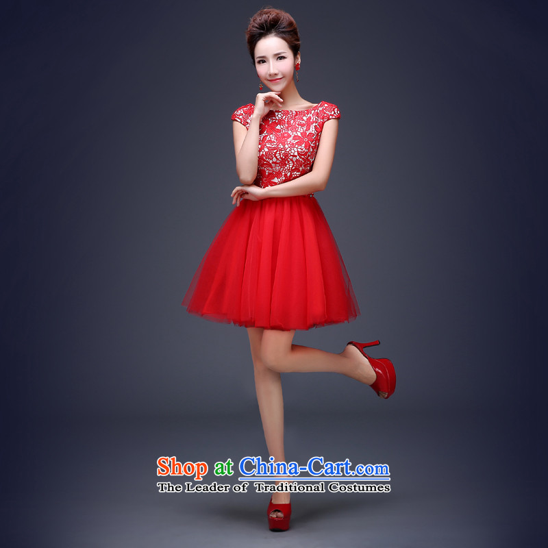Jie Mija?2014 new bride dress bows to marry wedding dress red short) under the auspices of lace dress female RED?M