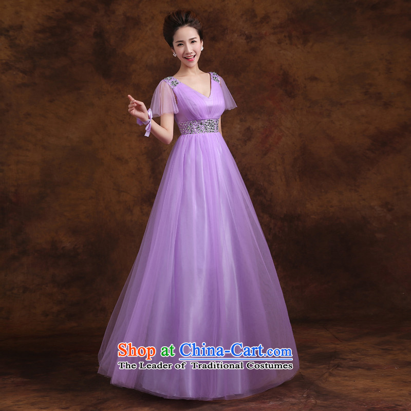 Jie mija bridesmaid service long 2015 new Korean purple shoulders bridesmaid mission then shoulder type straps sister skirt evening dress�E�XL