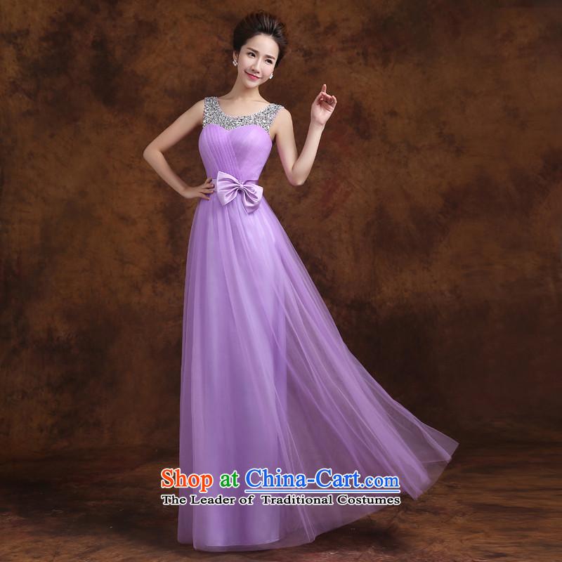 Jie mija bridesmaid service long 2015 new Korean purple shoulders bridesmaid mission then shoulder type straps sister skirt evening dressEXL, Cheng Kejie mia , , , shopping on the Internet