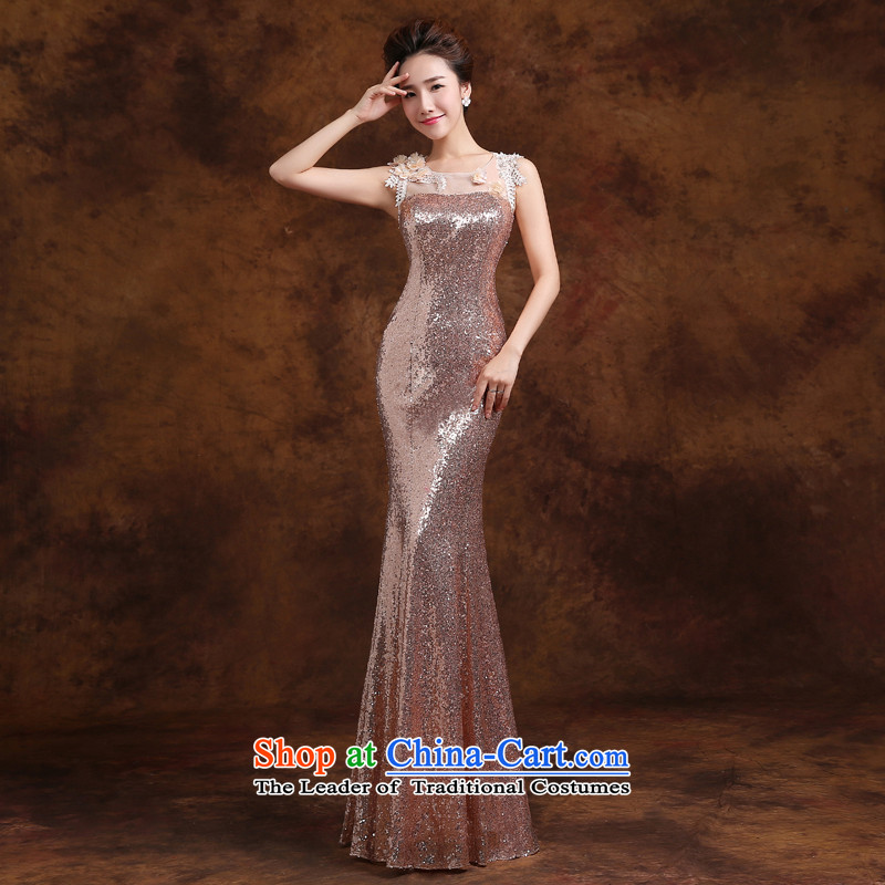 Jie mija evening dresses 2015 new wedding dresses on the shoulders with lace long banquet hosted performances dress Sau San?XXL