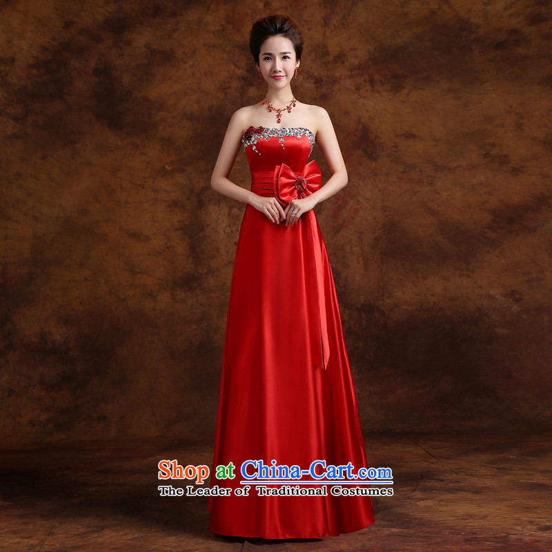 Jie mija bows services 2015 new red and chest of Sau San marriages evening dresses diamond Banquet Hosted Services Red�S
