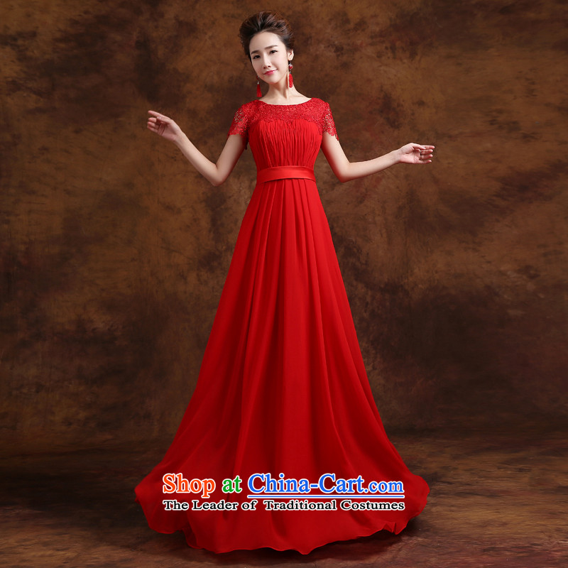 Jie mija bows Service Bridal Fashion 2015 new wedding dress shoulders lace long marriage evening dresses, Choo red long?S