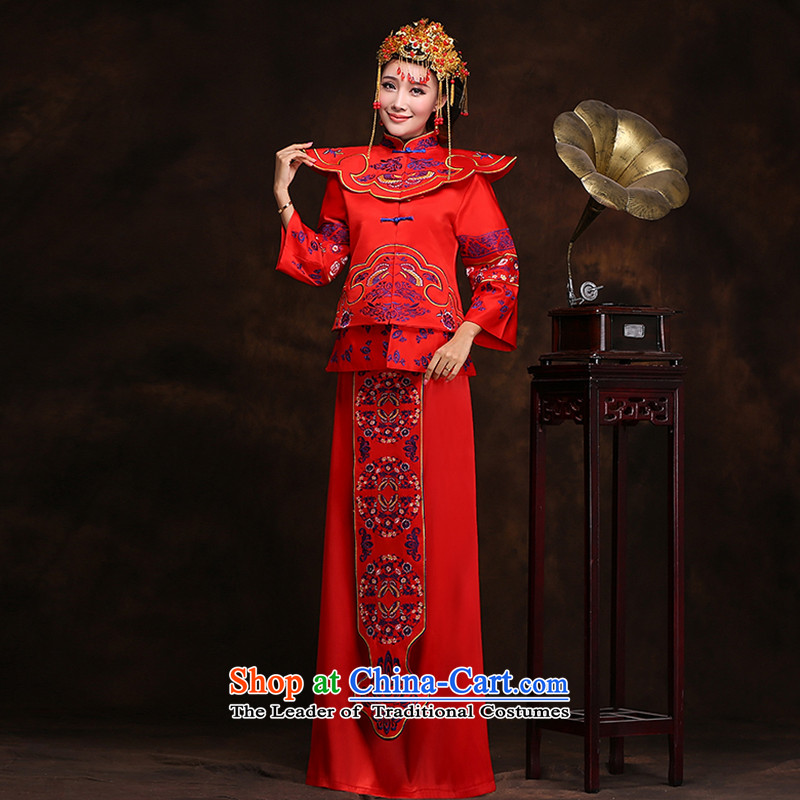 Hei kaki-soo Wo Service bridal dresses wedding dresses Chinese wedding kimonos bows retro-red dragon cheongsam dress XH66 use Sau San Su Wo service plus crown plus earrings?L