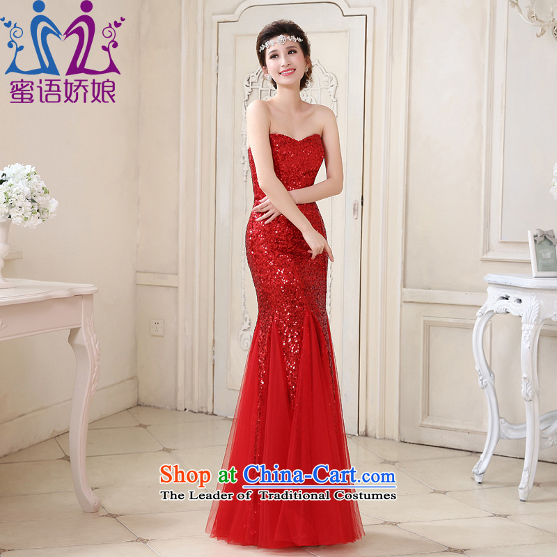 Talk to Her New Red Dress Crowsfoot Sau San evening dresses marriages bows serving large stylish and elegant evening with red?XL