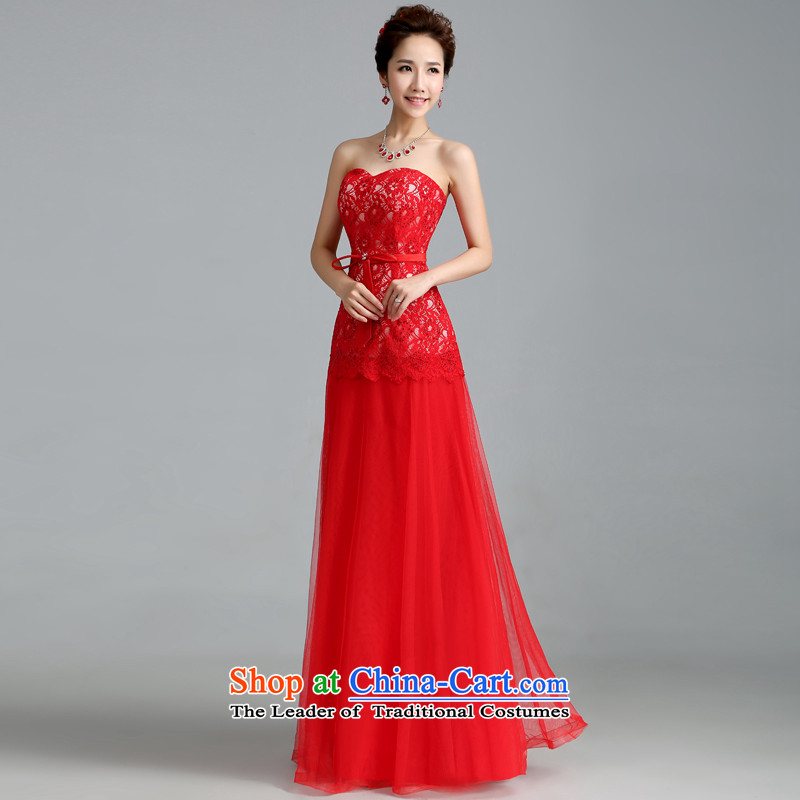 Jie mija wedding dresses 2015 new marriages bows and Stylish service chest red long banquet dinner dress red?XL