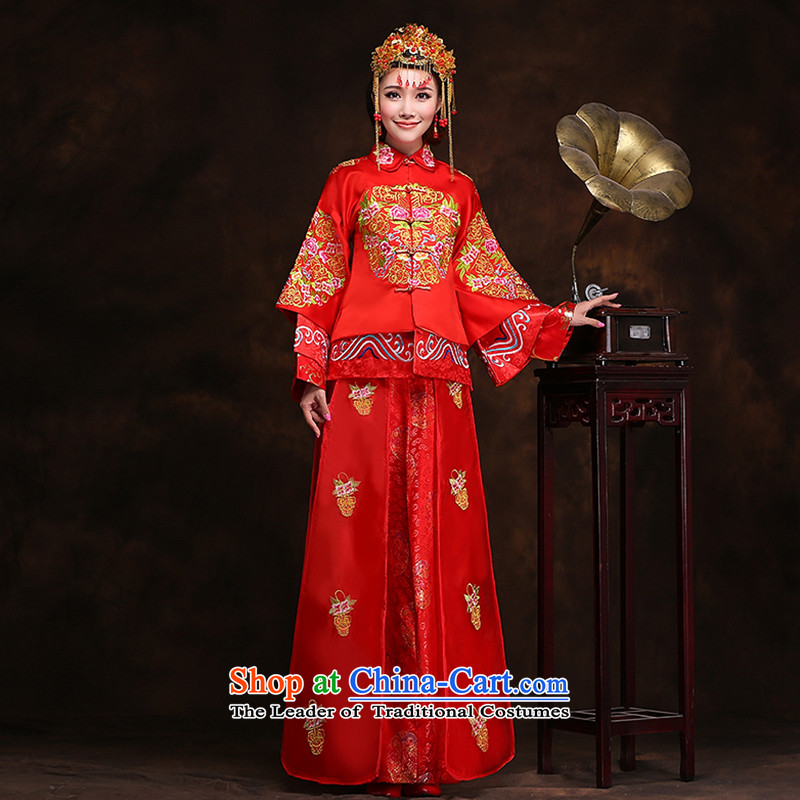 Hei Kaki New Chinese wedding dress winter bride dress Soo-wo service classical marriage bows services use XH99 dragon-soo wo service plus crown the necklace?XXL