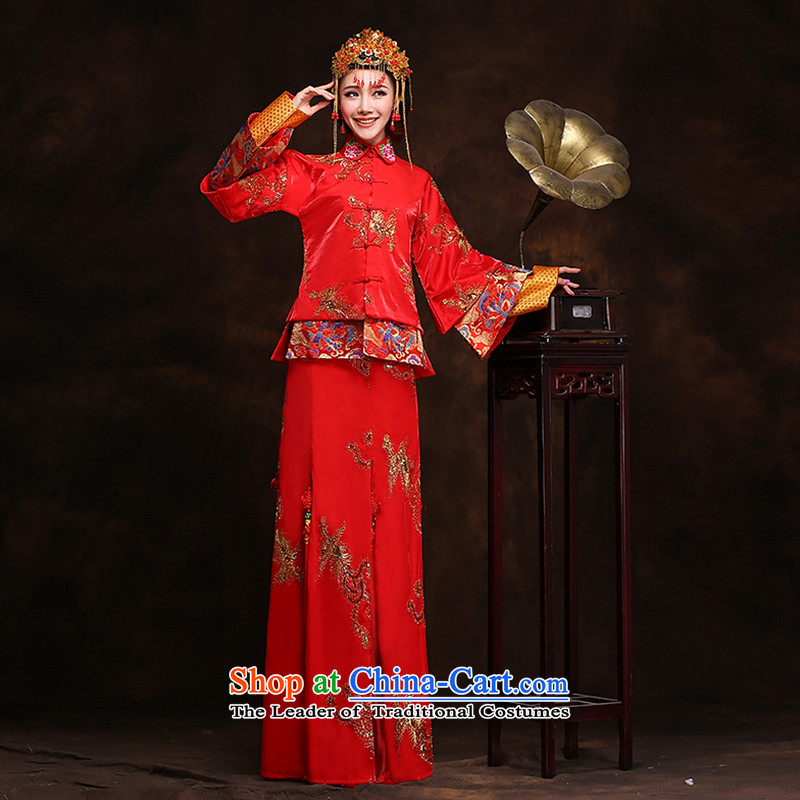 Hei Kaki New 2015 autumn and winter retro-soo Wo Service toasting champagne qipao serving Chinese classic wedding dresses long XH88 Soo-wo service plus crown plus earrings?S