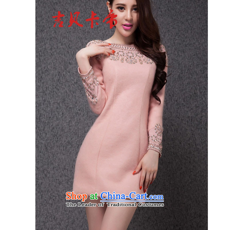 Gibez 6860# European station in Dili Card Fall/Winter Collections aristocratic small wind manually staple-ju-wool? dresses small pink dresses?M