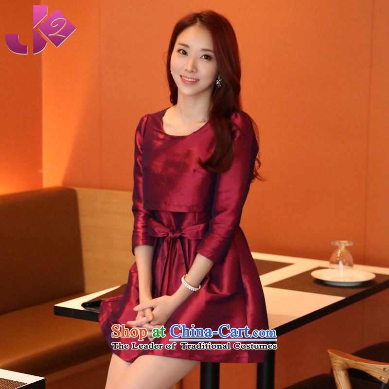 Install the latest Autumn 2015 Jk2.yy) Leave two bon bon skirt the skirt of 7 MM thick large cuff Female dress skirts, wine red�2XL recommendations about 160